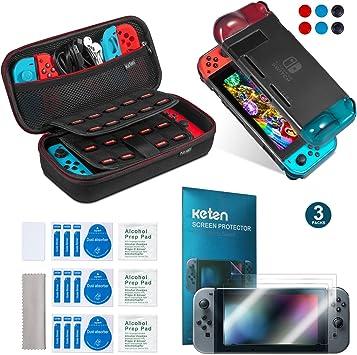 Keten kit de accesorios 11 en 1 para Nintendo Switch, incluye una funda de transporte para Nintendo Switch / Funda negro/ Protector de pantalla HD (3 paquetes): Amazon.es: Electrónica