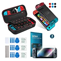 Keten 11 in 1 Accessory Kit for Nintendo Switch, include Switch Carrying Case, Switch Protective Cover Shell and PET Screen Protector (3 Packs)