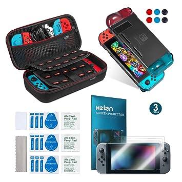 d427ad255ee Keten kit de accesorios 11 en 1 para Nintendo Switch, incluye una funda de  transporte para Nintendo Switch / Funda negro/ Protector de pantalla HD (3  ...
