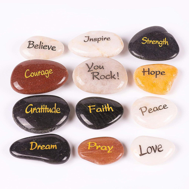 RockImpact 12 Piedras Grabadas, Piedra de Palabra, Piedra de Afortunada, Rocas Inspiradoras, Piedras de Agradecimiento, Guijarros Decorativos (al por Mayor, Diferentes Palabras, 5-8 cm Cada uno)