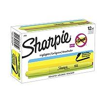 Sharpie Accent Pocket-Style Highlighters, Fluorescent Yellow , Chisel Tip, Dozen...