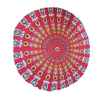 Amazon.com   DACHUI Women Invisible Beach Mandala Tapestry Cycle of Bohemia  Peacock Print Beach Peeling Wall Jewelry Yoga mat 042041 a1da596421