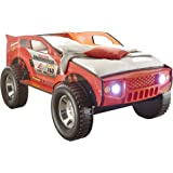 Stella Trading Jeep Autobett, Holz, Rot, 211 x 120 x 81 cm