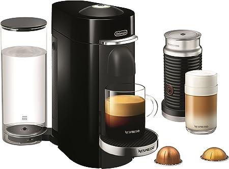 Nespresso ENV155BAE VertuoPlus Deluxe Coffee and Espresso Machine Bundle with Aeroccino Milk Frother by De Longhi, Black