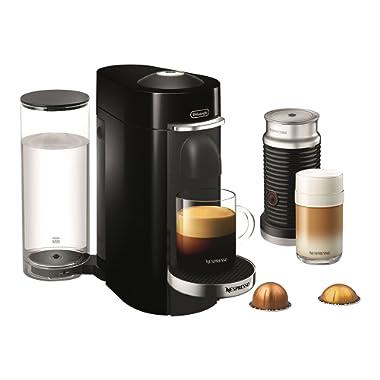 Nespresso by De'Longhi ENV155BAE VertuoPlus Deluxe Coffee and Espresso Machine Bundle with Aeroccino Milk Frother by De'Longhi, Black