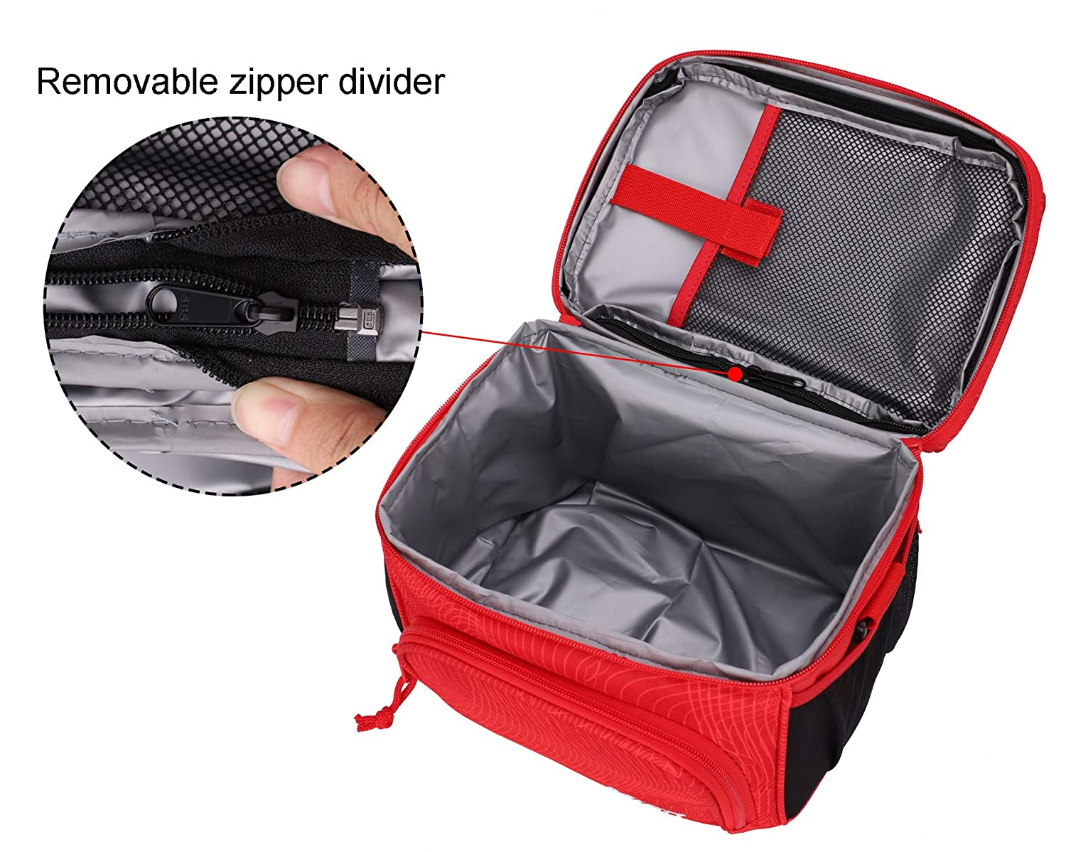 564e82594f25 MIER Insulated Lunch Bag Tote for Women Men Kids 2 Compartment ...