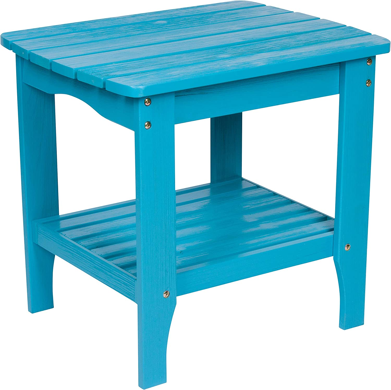 Shine Company Shine Co. Cedar Wood Weather Resistant Hydro-Tex Finish Adirondack Square Side Corner Aqua Blue 4113AQ End Table