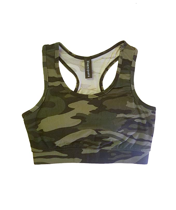 c49495dda2 bluensquare Racerback Sports Bra for Women Camouflage Removable Pad Yoga  Gym Fitness Crop Top (Camouflage