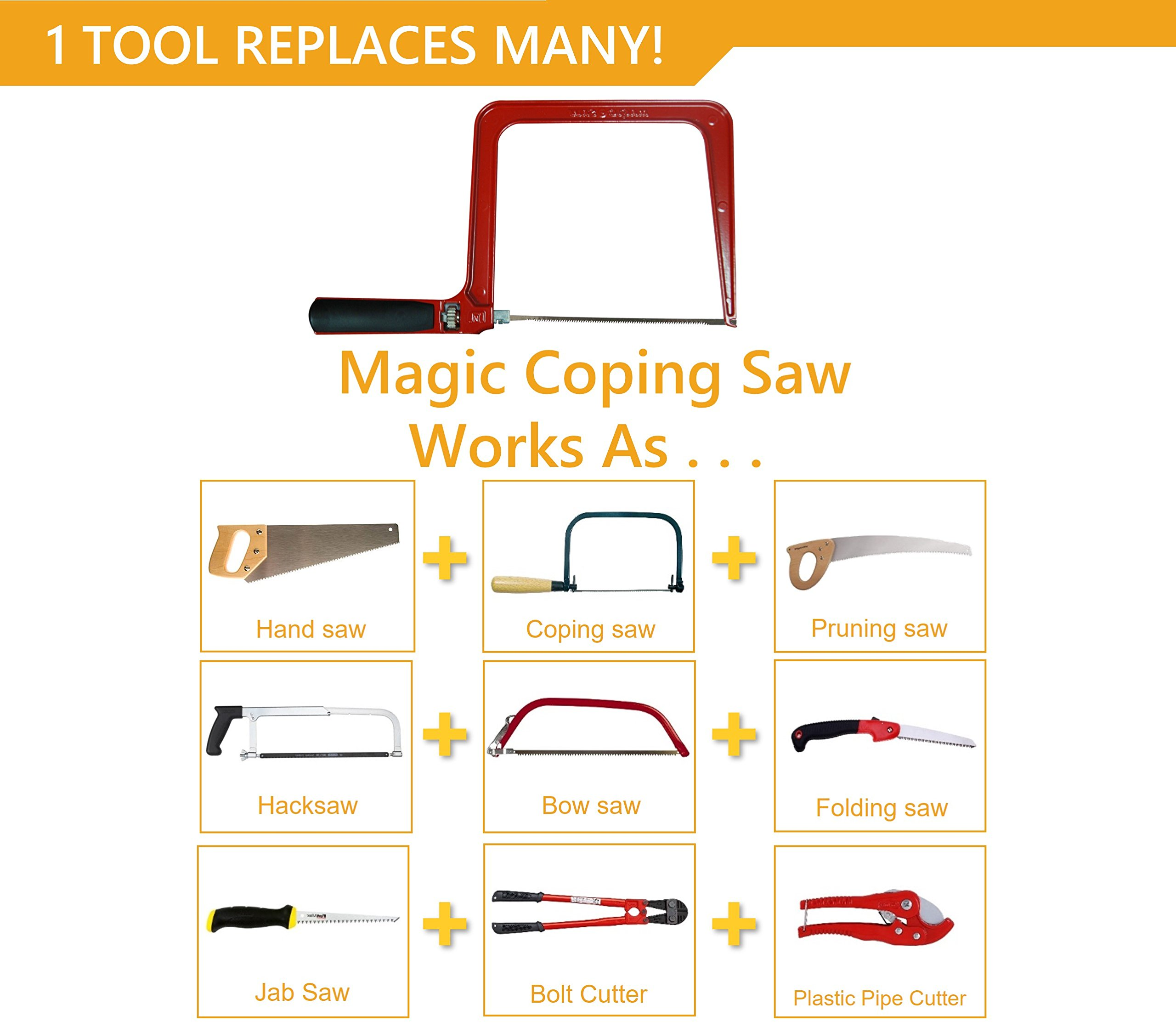 Original Magic Coping Saw with 6 inch High Carbon Steel Pins Blades, a Heavy Duty H shape Metal Frame Works as Fret Saw, Hacksaw, and Pruning Saw & Suitable to Cut Wood, Plastic, PVC, Aluminum, Nails by Amazing Tools (Image #4)