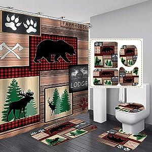 Camille&Andrew 4PCS/Set Black Rustic Deer Moose Elk Bear Fabric Plaid Shower Curtain, Country Farmhouse Pine Tree Wooden Board Barn Lodge Wild Animal Decor, Non-Slip Bathroom Mat Bath Rugs, Style 4