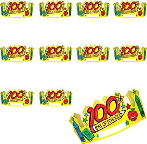 Party City 100th Day of School Crowns Kit; Colorful and Adjustable Cardstock Crowns; 36 Count