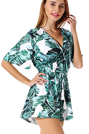 4db6fc2a738e Amazon.com  Floral Print Playsuit Women Sexy Deep V Neck Short Sleeve Boho  Rompers Jumpsuit Beach Party Overalls  Clothing