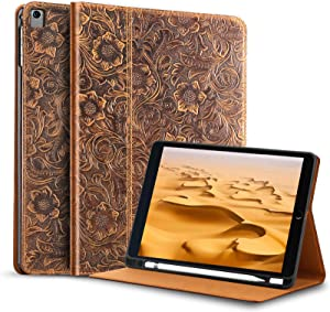 Gexmil iPad 9.7 Inch 2018/2017 Case, with Built-in Apple Pencil Holder ,applies Cowhide Folio Cover for iPad 6th Gen / 5th Gen Genuine Leather, Also Fit iPad Pro 9.7/Air 2 / iPad Air,Pattern-Brown