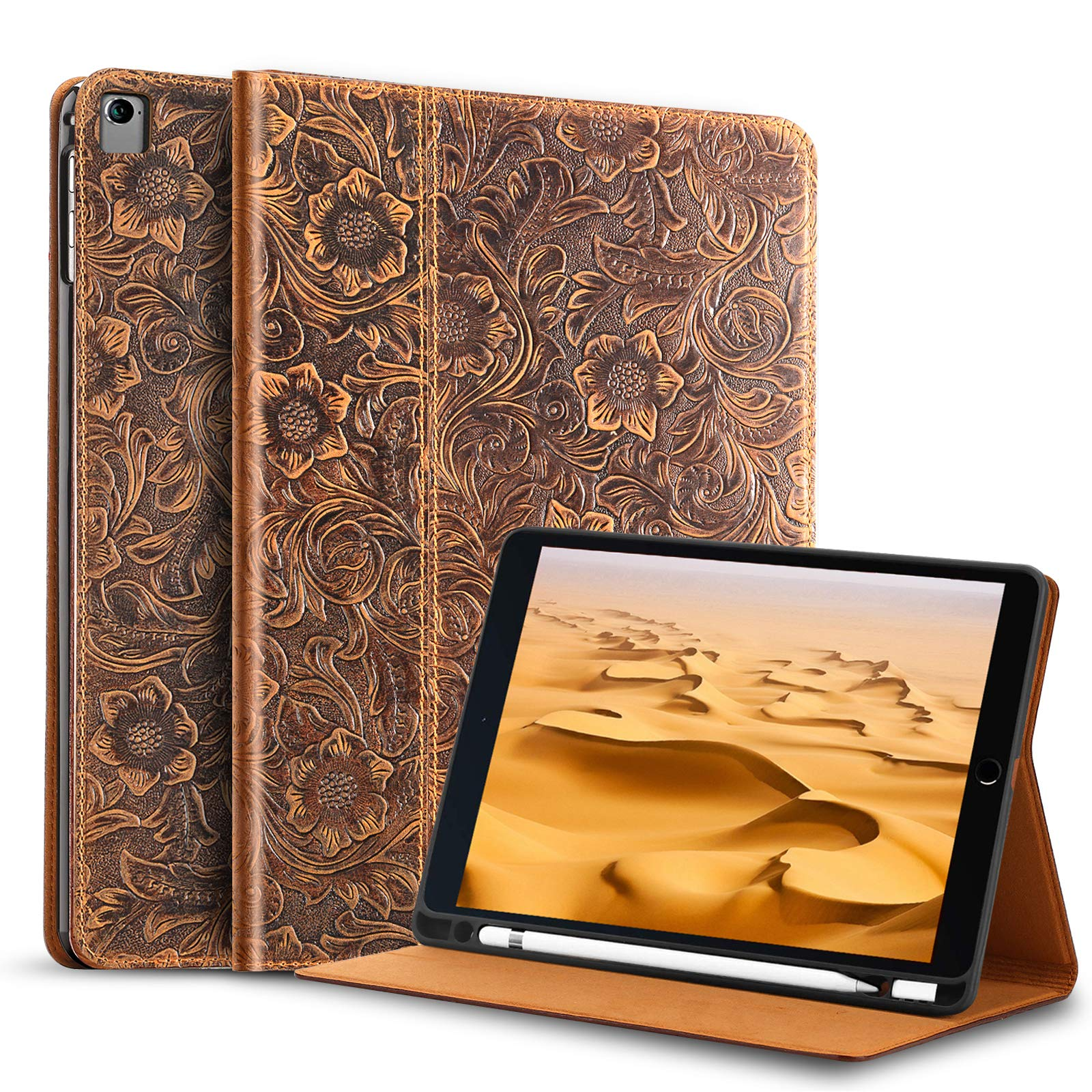 Gexmil Leather iPad Case 9.7 Inch 2018/2017 , with Built-in Apple Pencil Holder,applies Cowhide Folio Cover for iPad 6th Gen / 5th Gen Genuine Leather case,Also applies to iPad Air 2/iPad Air/pro 9.7