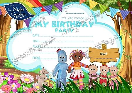 Fiesta en la noche jardín invitaciones tarjetas cumpleaños ...