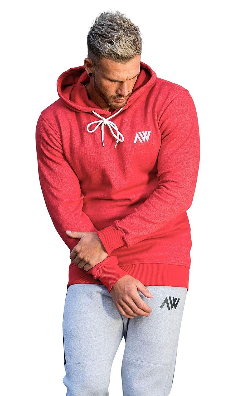 Aspire Wear Icon Sudadera Slim Fit Rojo Gimnasio Fitness Capucha Innovadora con Capucha Activa Desgaste Superior de Manga Larga Jersey