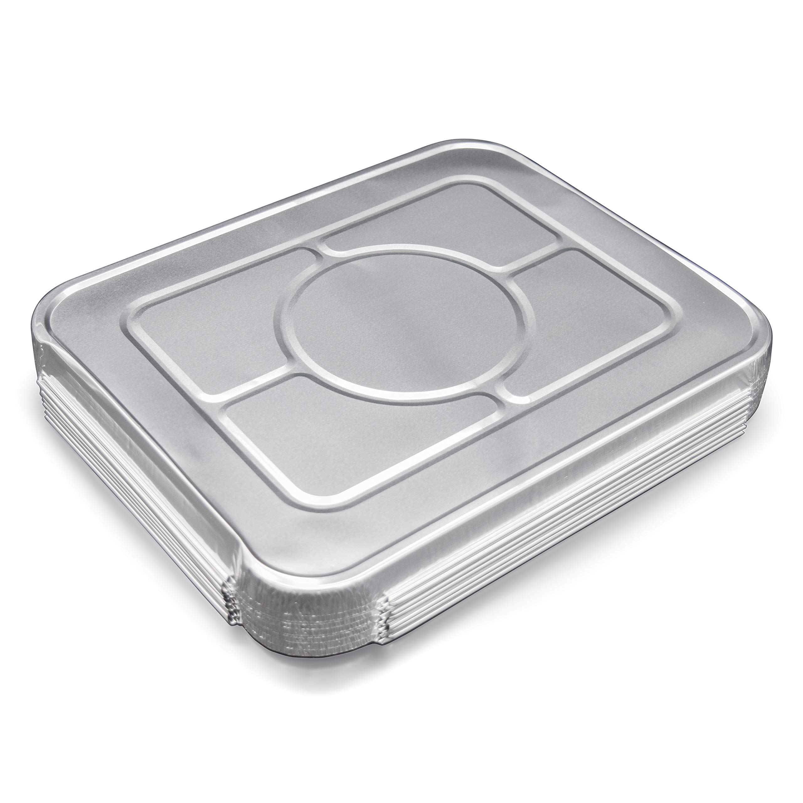 Fig & Leaf (120 Pack) Premium Lids for Chafing Pans 9'' x 13'' Half Deep Pans l Top Choice Disposable Aluminum Foil Tin Pan Lid Perfect for Roasting Potluck Catering Party BBQ Baking Cakes Pies by Fig & Leaf (Image #2)