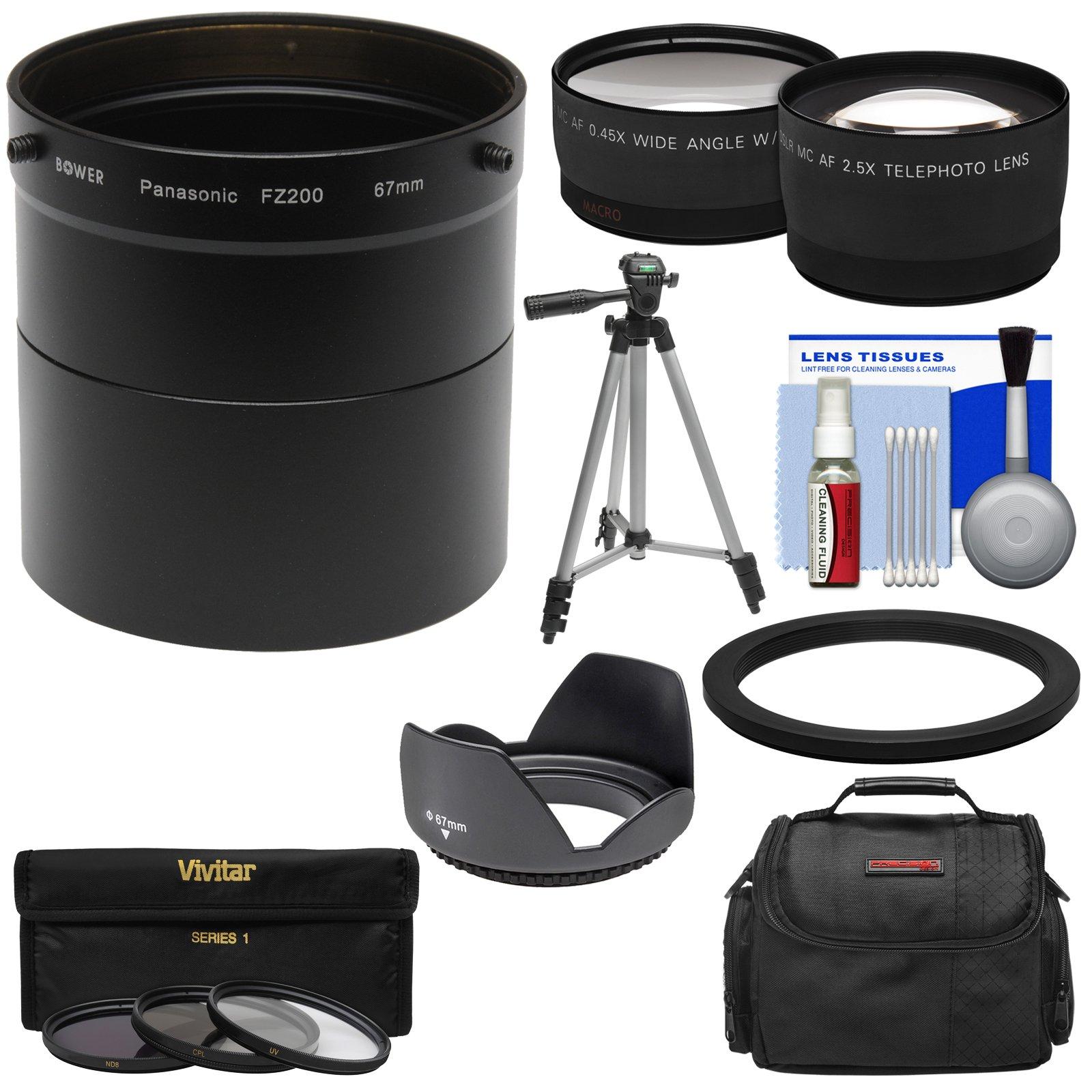 Panasonic Lumix DMC-FZ200 Digital Camera Essentials Bundle with Adapter Tube + 2.5x Tele & .45x Wide Angle Lenses + Hood + 3 Filters + Case + Tripod Kit