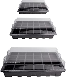10 Pack -240 Cells -24 Grow Trays with Humidity Dome and Cell Insert - Mini Propagator for Seed Starting and Growing Healthy Plants Durable Reusable and Recyclable