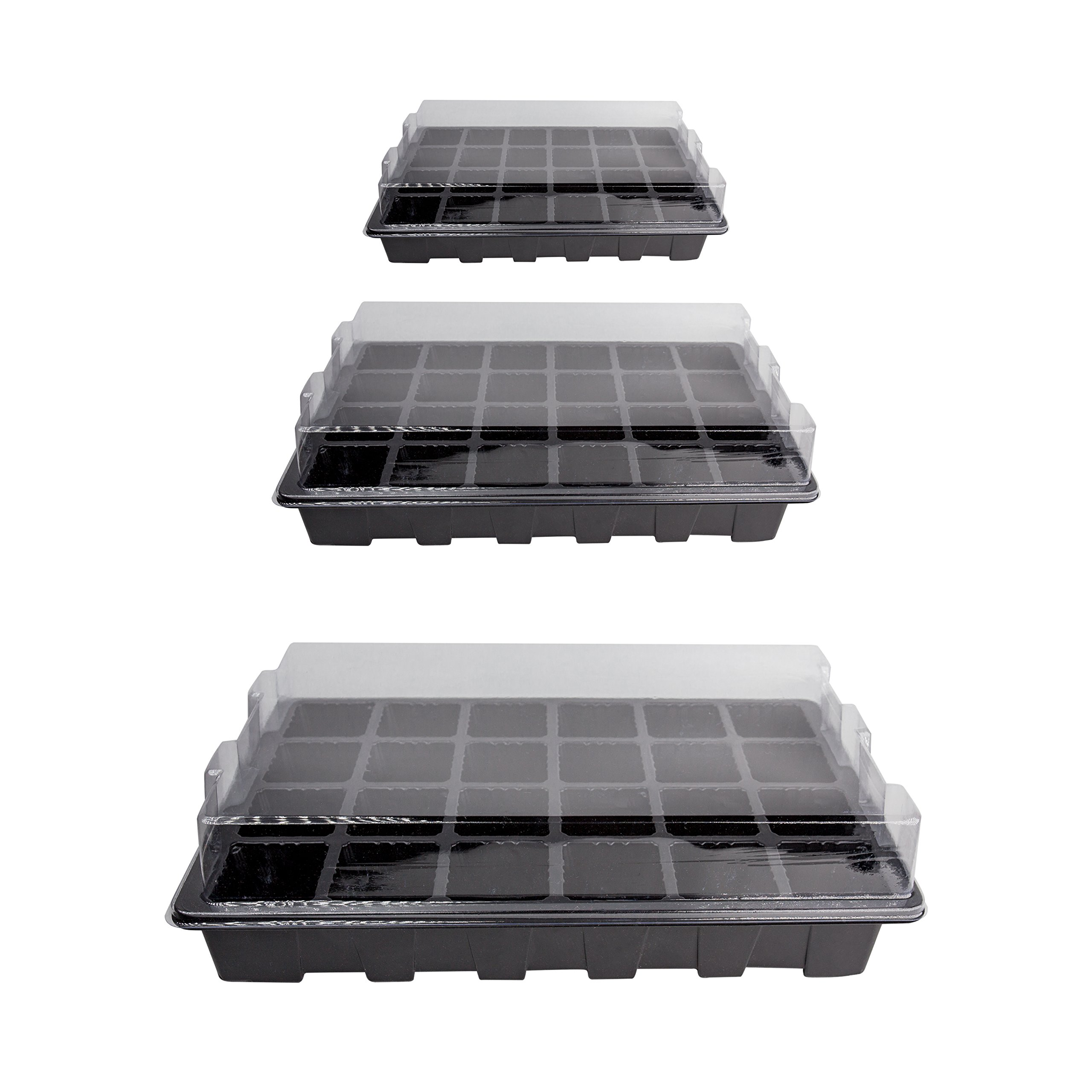 LOVEDAY 10 Pack -240 Cells -24 Grow Trays with Humidity Dome and Cell Insert - Mini Propagator for Seed Starting and Growing Healthy Plants Durable Reusable and Recyclable by LOVEDAY