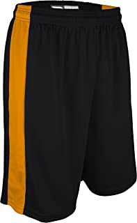 """product image for PT-6939-CB Adult Unisex Performance Dry Fit 9"""" Short with Side Panel, Odor Control (X-Large, Black/Gold)"""