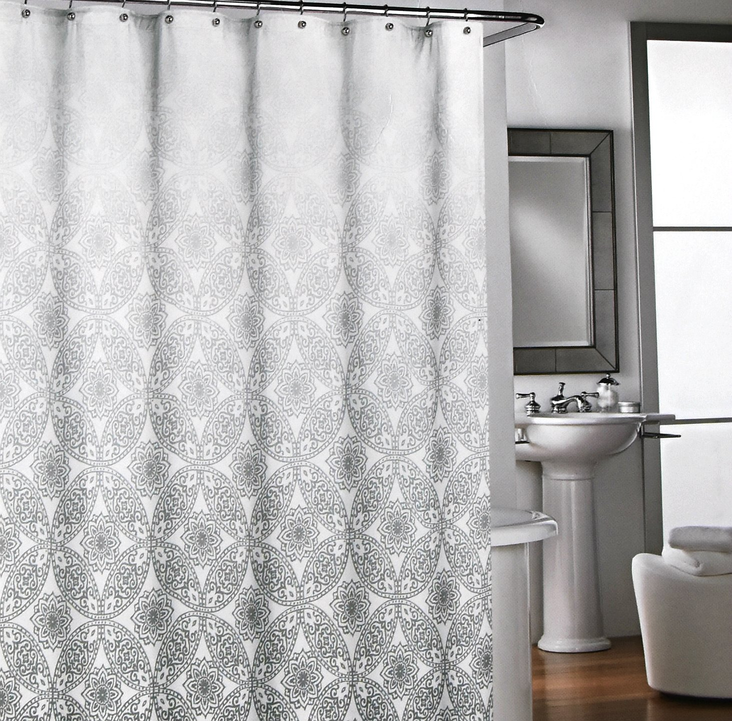 Amazon.com: Cynthia Rowley Luxury Fabric Shower Curtain Grey And White Lace  Damask Ombre Pattern 72 Inch By 72 Inch: Home U0026 Kitchen