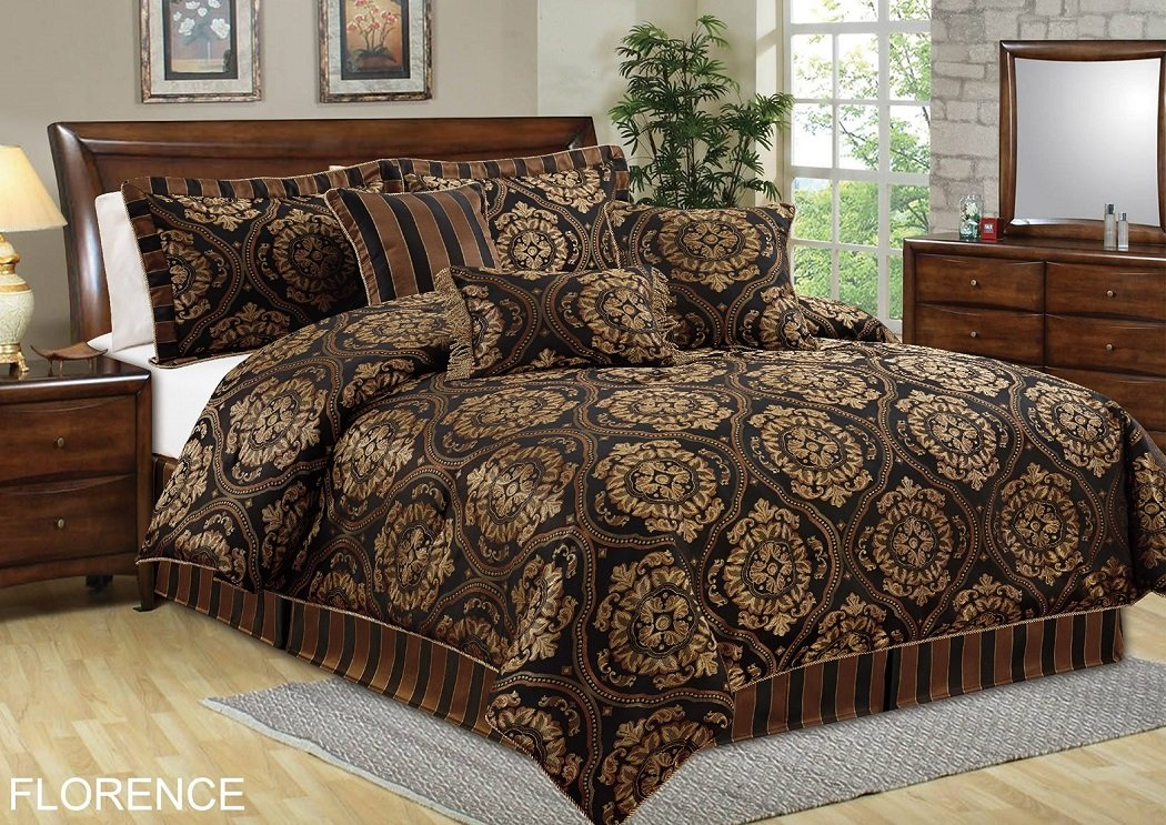 Chezmoi Collection 7-piece Jacquard Medallion Comforter Bedding Set