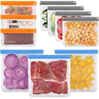 Reusable Food Storage Bags - 10 Pack Reusable Freezer Bags, Leakproof Silicone & Plastic Free 3 Gallon & 4 Sandwich…