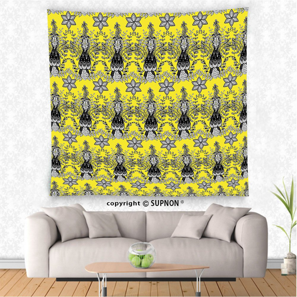 Amazon.com: VROSELV custom tapestry Grey and Yellow Tapestry Indian ...