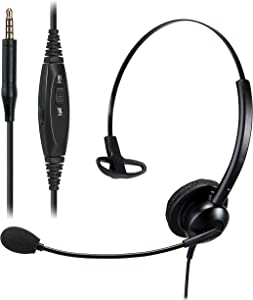 Tablet Headset for Zoom Meeting with Microphone, Cell Phone Headset for Phone Call with 3.5mm Audio Jack, PC Headset for Teacher & Kids, Computer Audio Headset for Video Conferencing with Mute Button