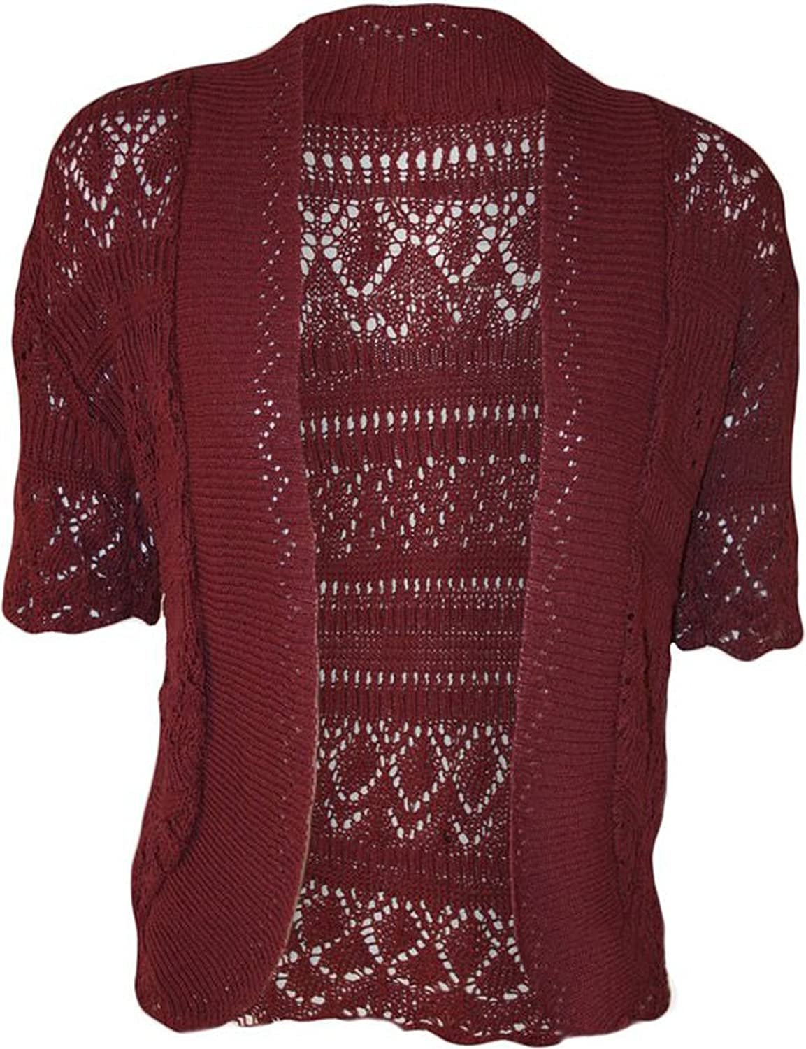 FashionMark Women's Plus Size Crochet Knitted Short Sleeve Cardigan