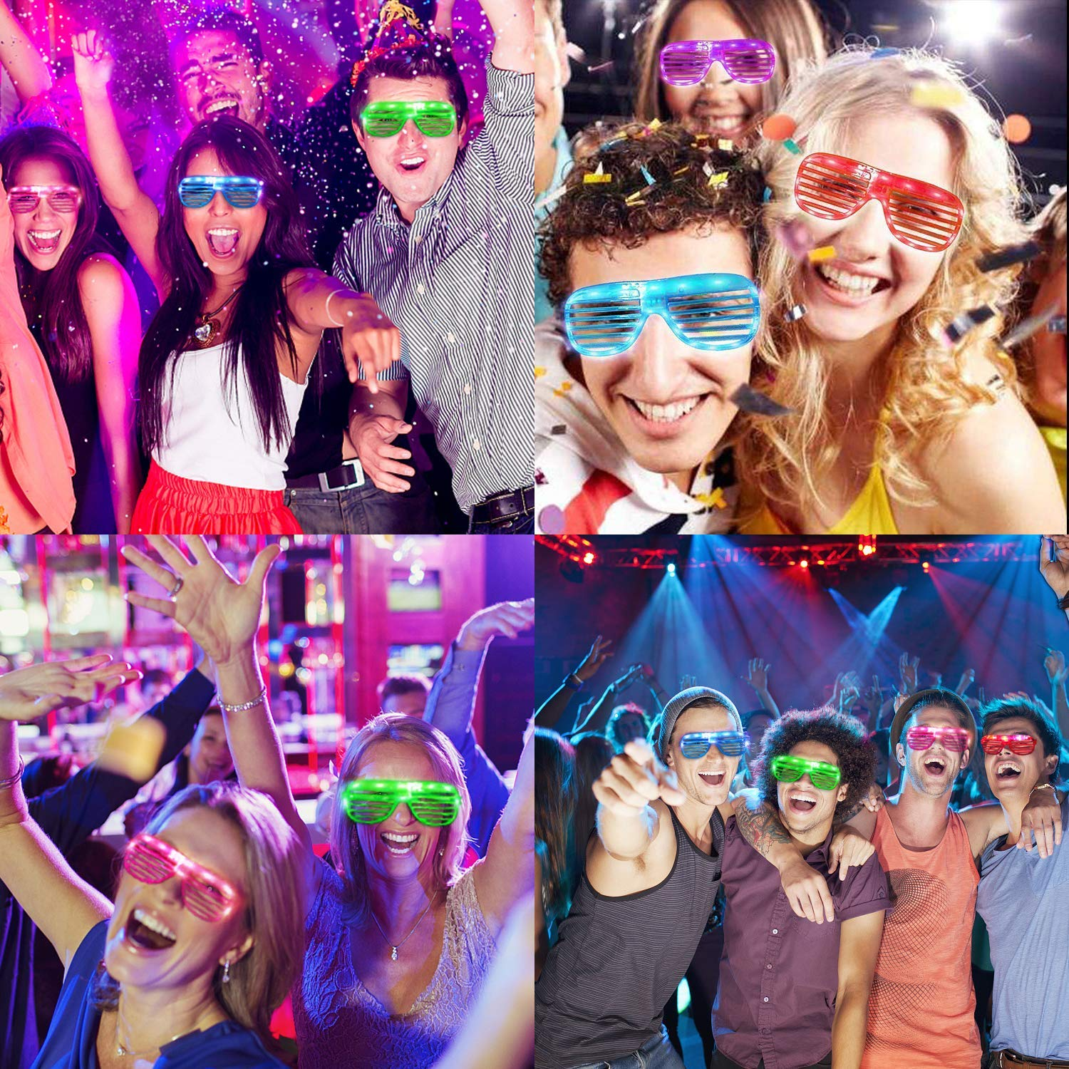 TURNMEON 20 Pack LED Glasses,5 Color Light Up Plastic Shutter Shades Glasses Shades Sunglasses for Adults Kids Glow in the Dark Party Favors Neon Party Supplies Independence Day Glow Toy by TURNMEON (Image #4)
