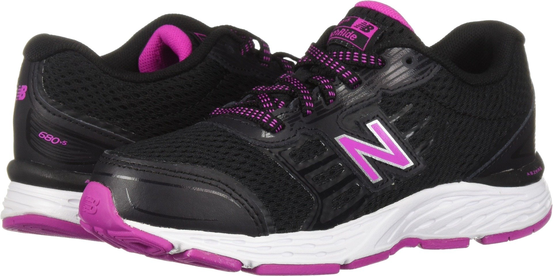 New Balance Girls' 680v5 Running Shoe, Black/Azalea, 13 M US Little Kid