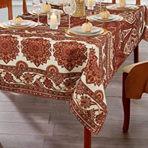 ColorBird Paisley Floral Fall Tablecloth Water Resistant Spillproof Bamboo Fabric Table Cover for Kitchen Farmhouse Dining, Harvest, Autumn, Thanksgiving, Rectangle/Oblong, 52 x 70 Inch
