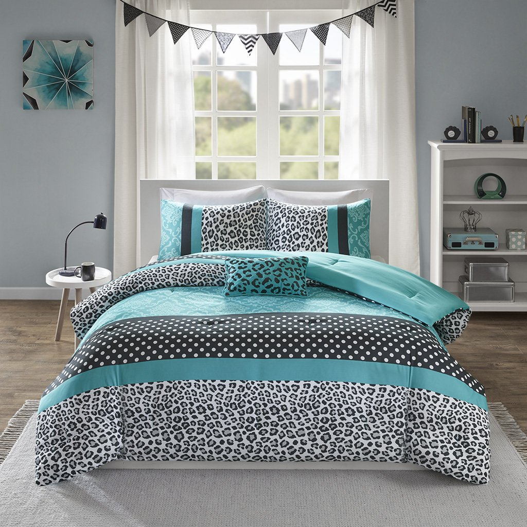 Mi-Zone Chloe Comforter Set Full/Queen Size - Teal, Polka Dots, Damask, Leopard - 4 Piece Bed Sets - Ultra Soft Microfiber Teen Bedding for Girls Bedroom