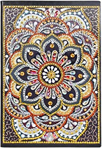 5D Diamond Painting Kits DIY Cross Stitch Notebook A5,Writing Note Book Secret Diary for Women Sketchbook for Teens Notepad A5 with Colourful Diamonds for Office/Home/Craft/Art Use Yellow Mandala