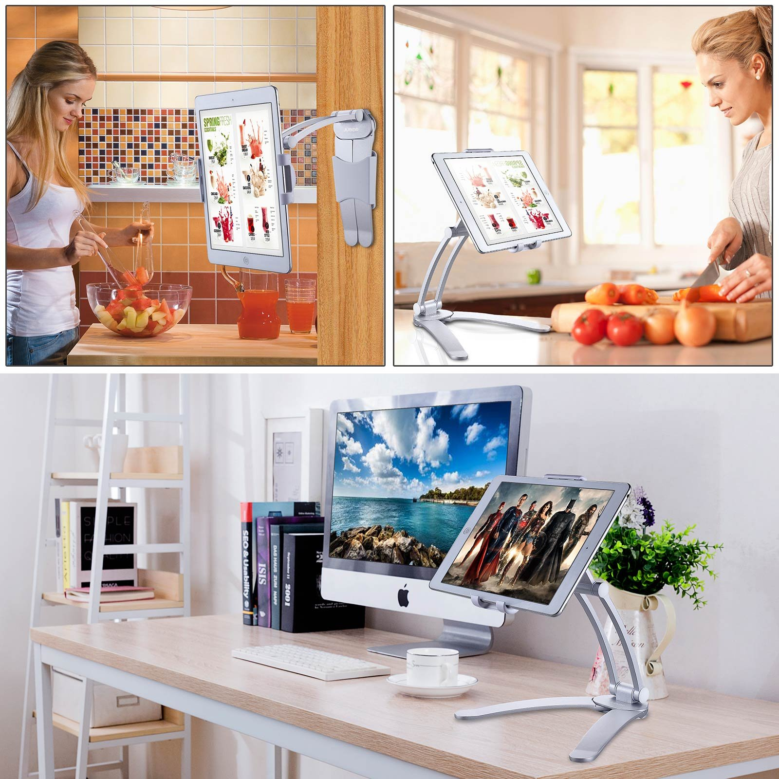 Jubor iPad Stand Wall Mount, 2-in-1 Kitchen Tablet Holder for iPad Pro, Surface Pro, Nintendo Switch, iPad Mini, 7''-12'' Tablet, Adjustable Easy Install 360° Rotating CounterTop Desk Recipe by Jubor (Image #6)