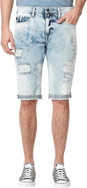 Buffalo David Bitton Men's Parker Slim Fit Fashion Denim Short in A Destroyed Light Indigo Wash