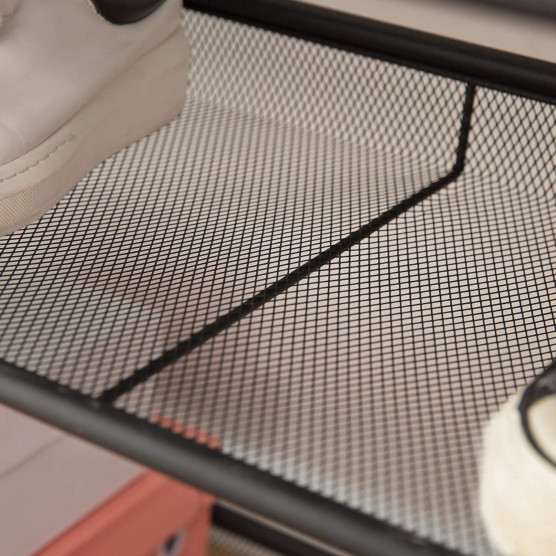 verstellbares Schuhbank langlebig und stabil Metall HOOBRO Schuhregal Vintage//Braun flach und neigbar Korridor Eingang 5-lagiges Schuhablagen Industrieraum EAF01XJ01