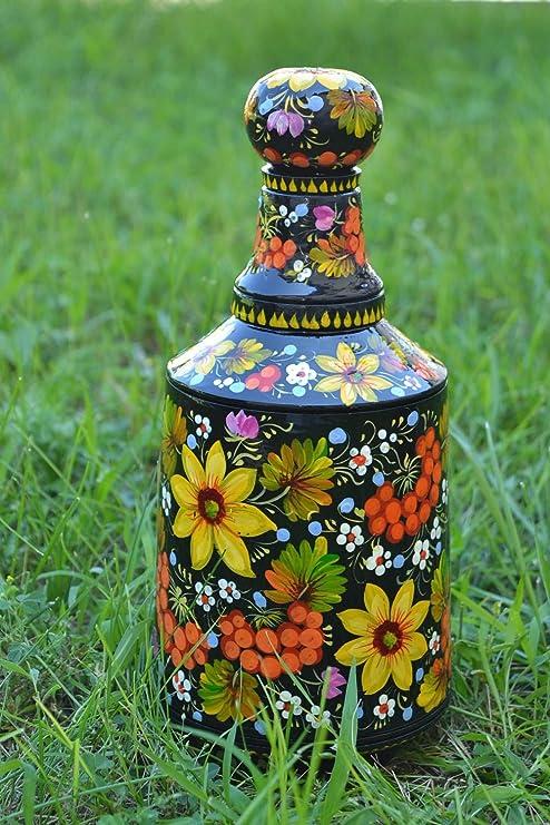 Botella de madera pintada hecha a mano souvenir original vajilla ...