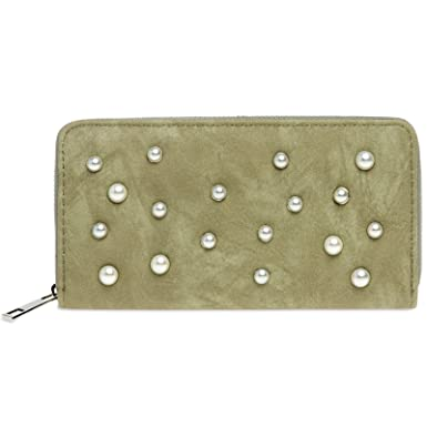 6e6076e0eb951 CASPAR GB1012 langer Damen Geldbeutel Geldbörse Portemonnaie mit Perlen  Dekor