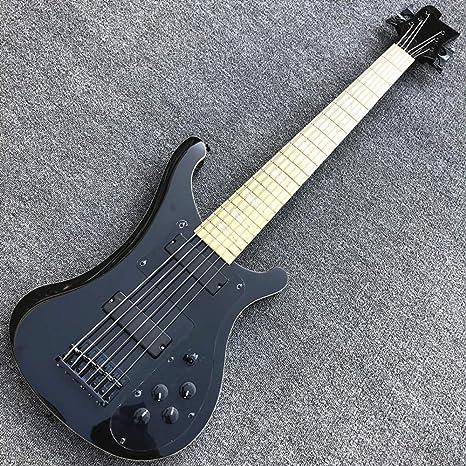 Guitarra eléctrica de 4 cuerdas Rick Bass, color negro claro ...