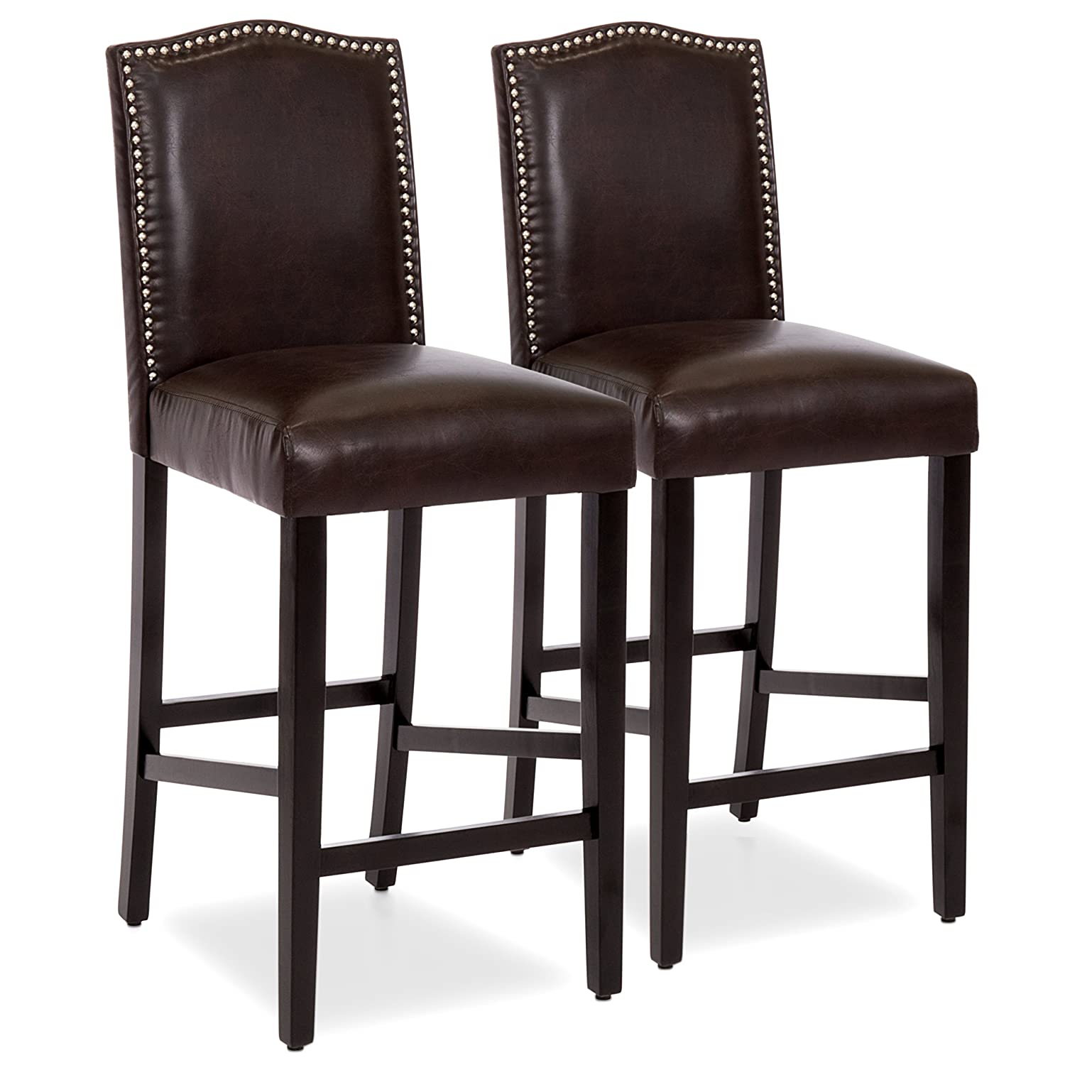 timeless design 6e534 9b209 Best Choice Products Set of 2 30in Faux Leather Counter Height Armless Bar  Stool Chairs w/Studded Trim Back - Brown