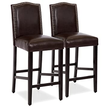 Awe Inspiring Best Choice Products Set Of 2 30In Faux Leather Counter Height Armless Bar Stool Chairs W Studded Trim Back Brown Gmtry Best Dining Table And Chair Ideas Images Gmtryco