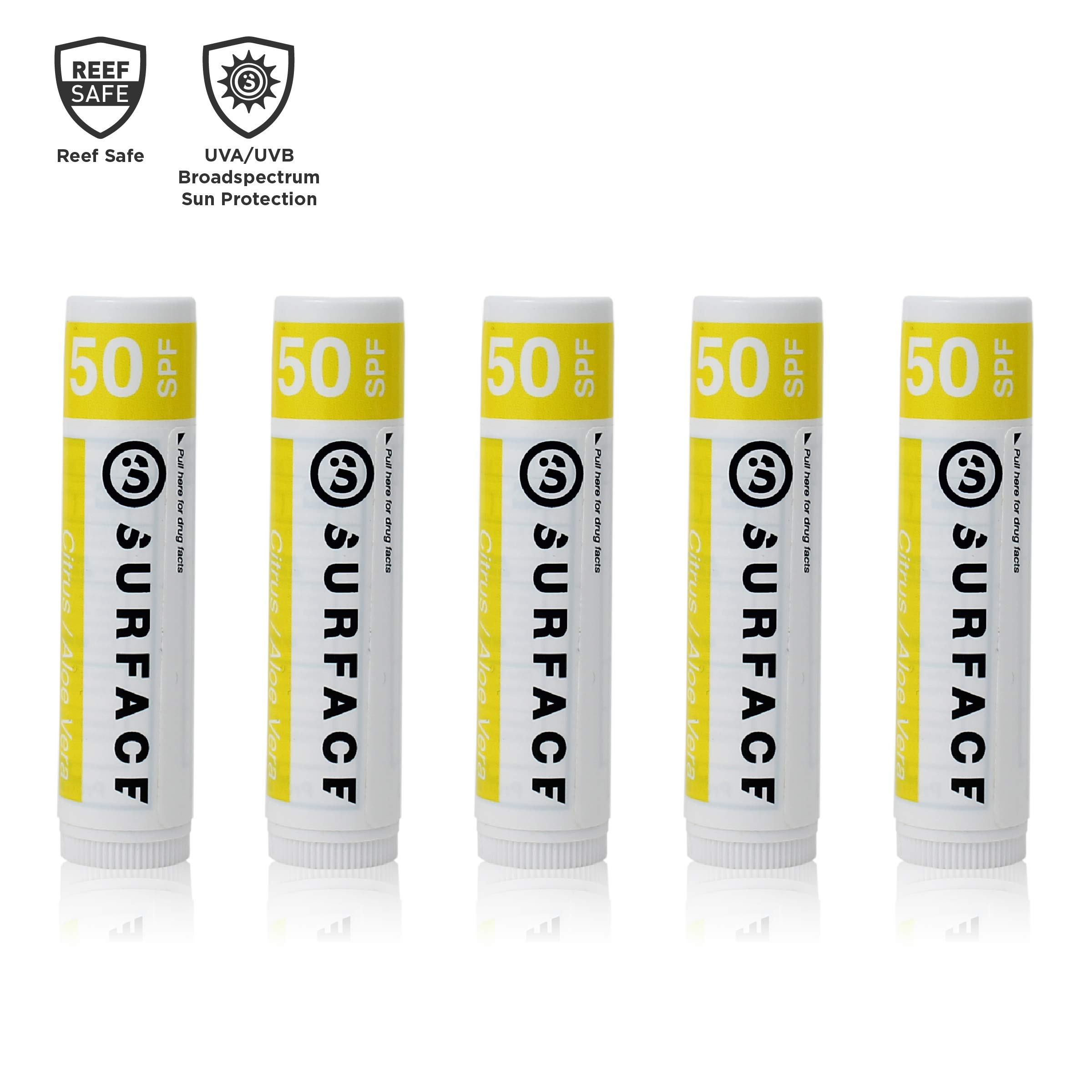 Surface Citrus & Aloe Vera Lip Balm with SPF 50 & Vitamin E - Reef Safe, Broad Spectrum UVA/UVB Protection - Petroleum, Paraben & Gluten Free - 5 Pack
