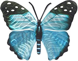 3D Metal Wall Art - Butterfly Wall Decor - Blue Morpho Butterfly Handmade in the USA for Use Indoors or Outdoors