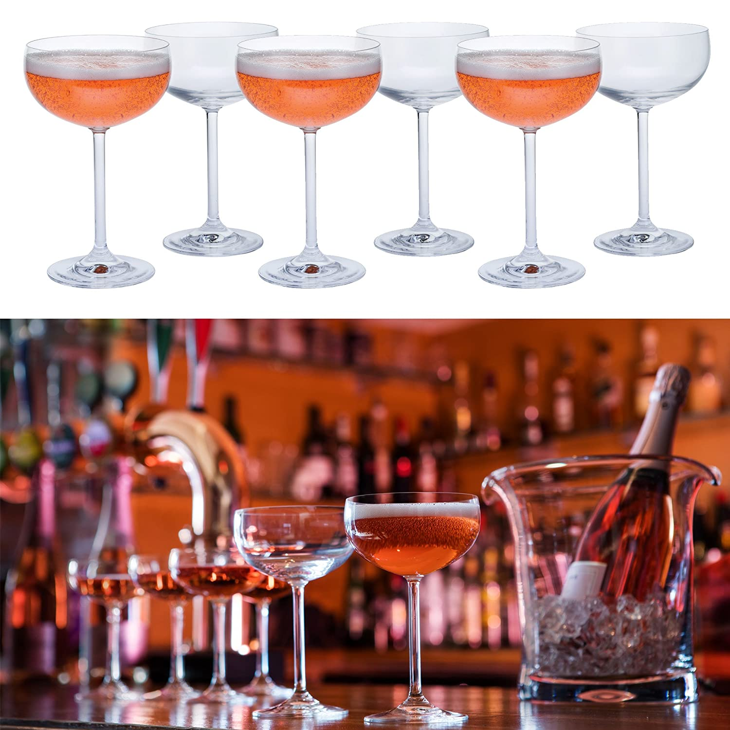 Bar Amigos SPECIAL BOX OF 6 Traditional Champagne Saucers Cocktail Coupe Glasses Special Party Glassware For Cocktails and Sparkling Wines Lead Free Crystal Dishwasher safe 280ml - Pack of 6