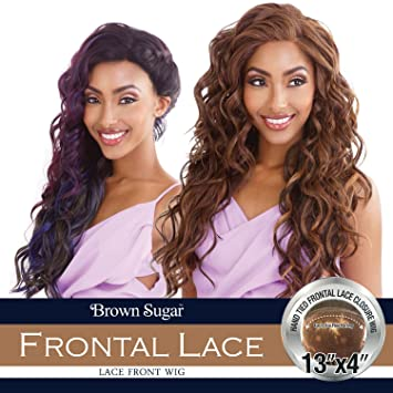 687934d2a0e6 Amazon.com  ISIS Human Hair Blend Lace Front Wig Brown Sugar 13X4 Frontal  Lace BSF12 (1)  Beauty