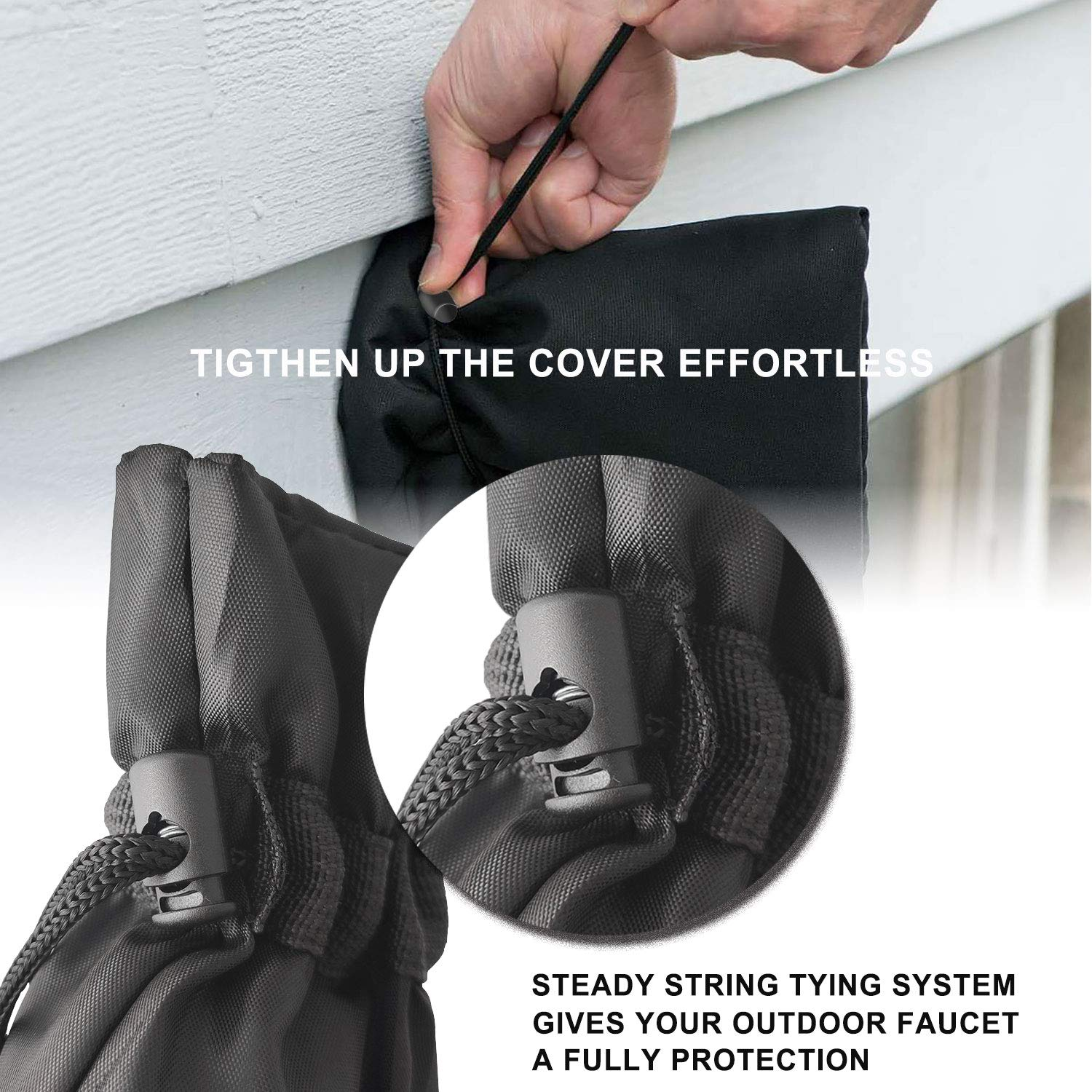 String Tying for Fully Freeze Protection Black Outdoor Tap//Spigot Cover for Winter Freeze Protection Set of 2 prowithlin Faucet Cover Socks for Winter
