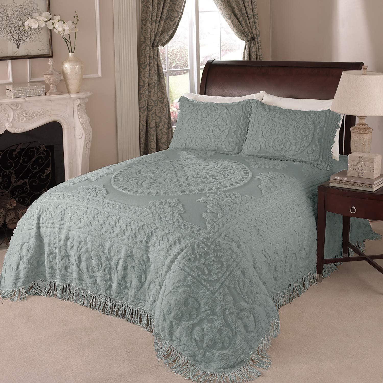 Beatrice Home Fashions Medallion Chenille Bedspread, King, Blue